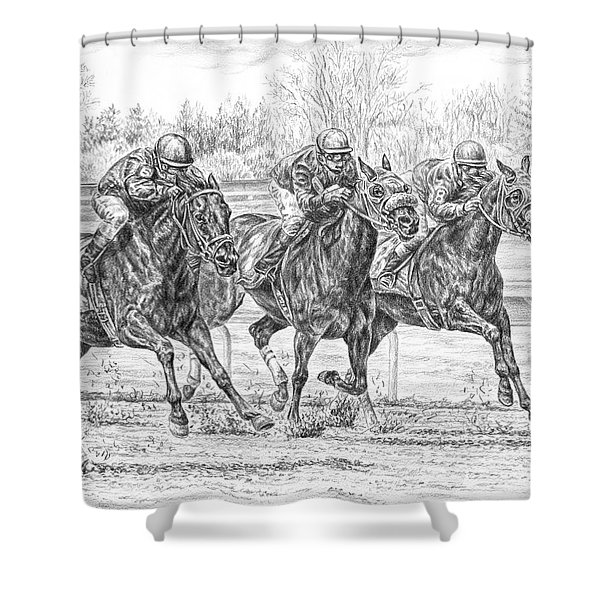 Neck And Neck - Horse Racing Art Print Shower Curtain