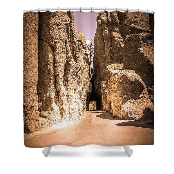 Needles Eye Tunnel At Custer State Park, Black Hills. South Dakota. Shower Curtain