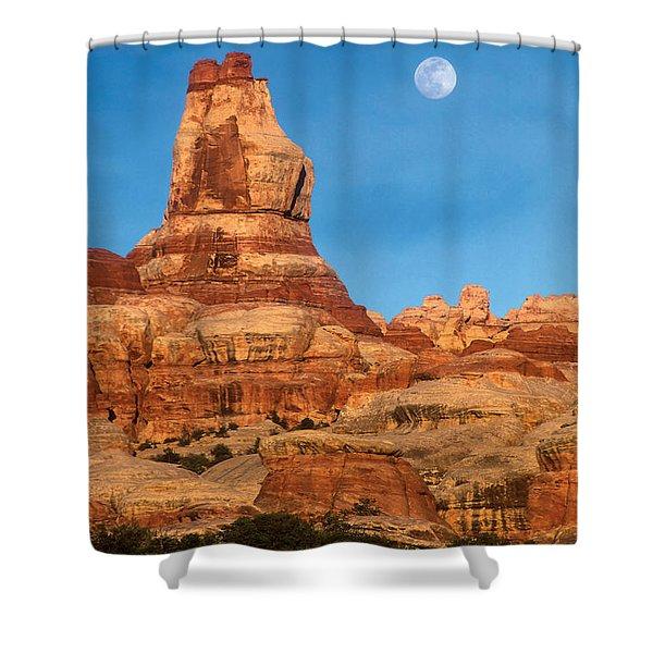 Needles Moonrise At Sunset Shower Curtain