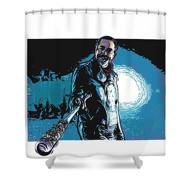 Shower Curtain featuring the digital art Negan by Antonio Romero