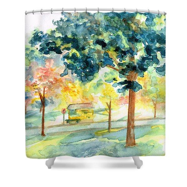 Neighborhood Bus Stop Shower Curtain