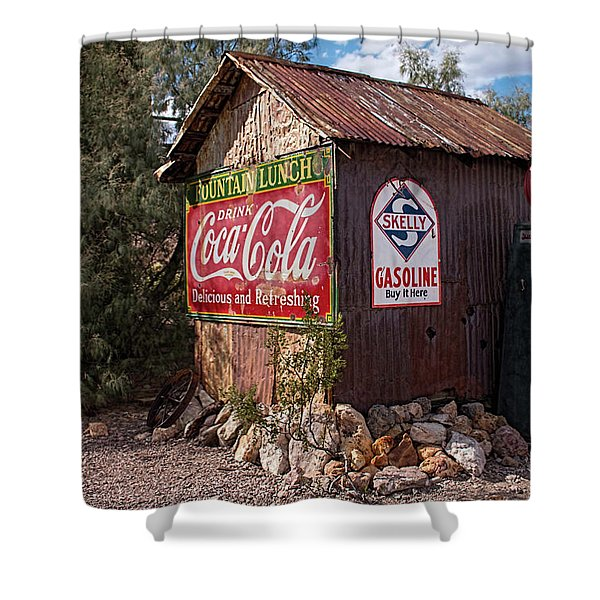 Nelson Ghost Town Gas Station Shower Curtain
