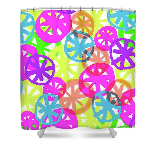 Neon Circles Shower Curtain