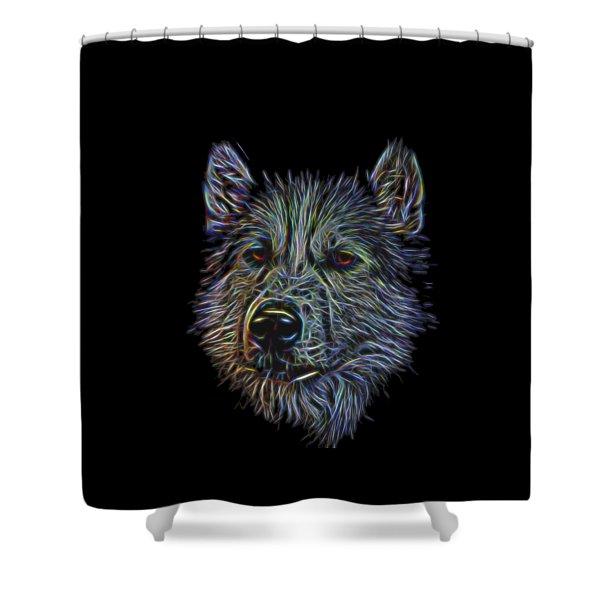 Neon Husky Shower Curtain