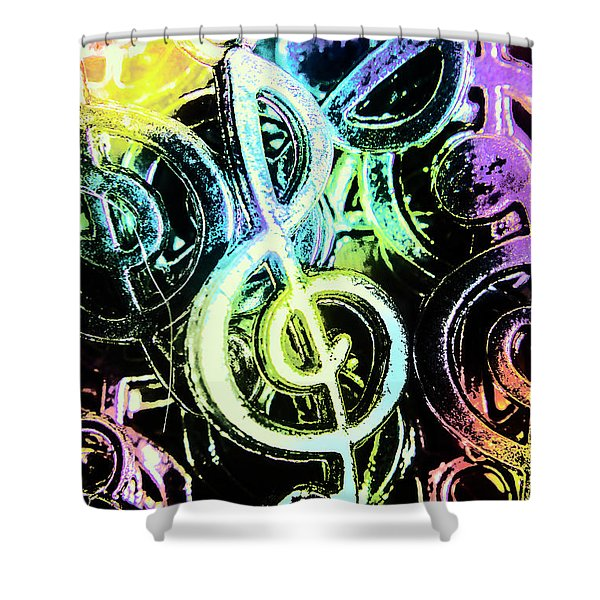 Neon Notes Shower Curtain
