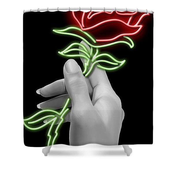 Neon Rose Shower Curtain