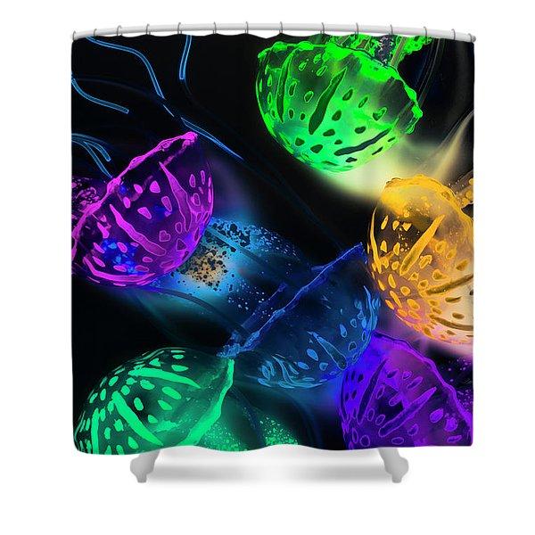 Neon Sea Life Shower Curtain