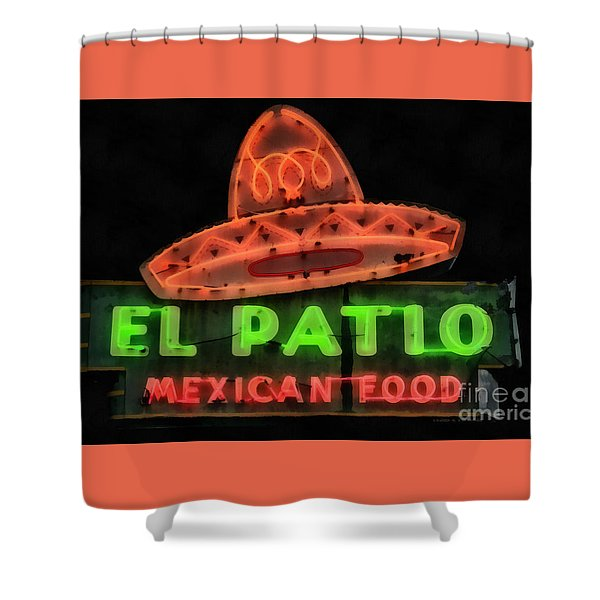 Shower Curtain featuring the painting Neon Sign Series Mexican Food Austin Texas by Edward Fielding