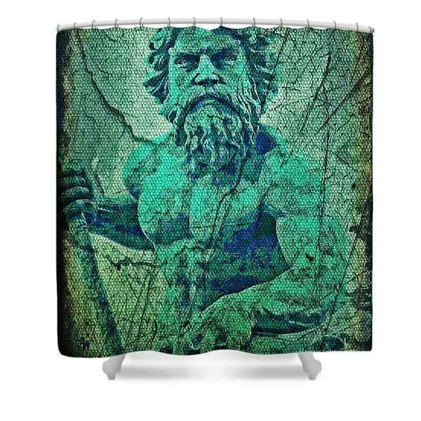 Neptune In Patina Shower Curtain