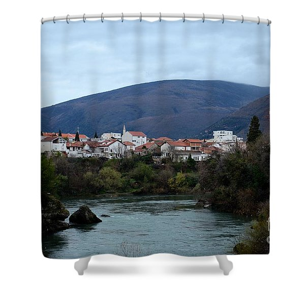 Neretva River And Mostar City And Hills With Mosque Minaret Bosnia Herzegovina Shower Curtain