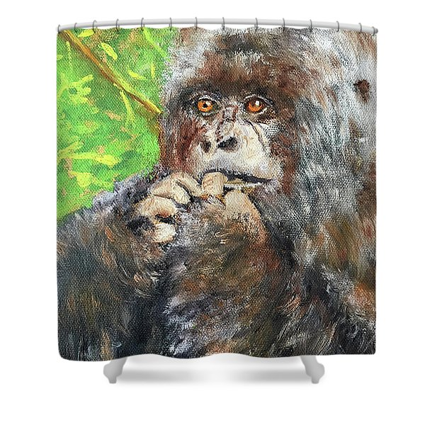 Nervous Mama Gorilla Shower Curtain