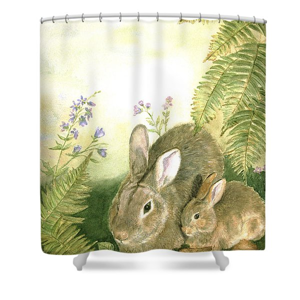 Nesting Bunnies Shower Curtain