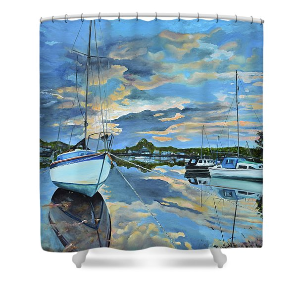 Nestled In For The Night At Mylor Bridge - Cornwall Uk - Sailboat  Shower Curtain