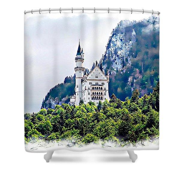 Neuschwanstein Castle With A Glider Shower Curtain