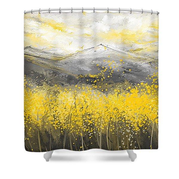 Neutral Sun - Yellow And Gray Art Shower Curtain