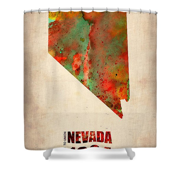 Nevada Watercolor Map Shower Curtain