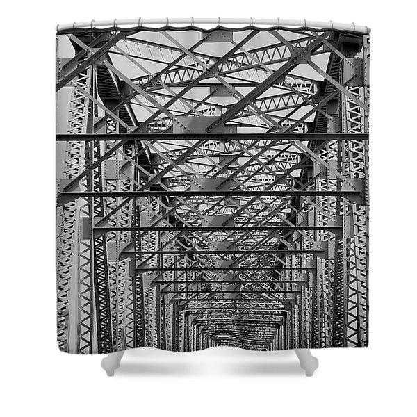 Never Ending Bridge Black And White Shower Curtain