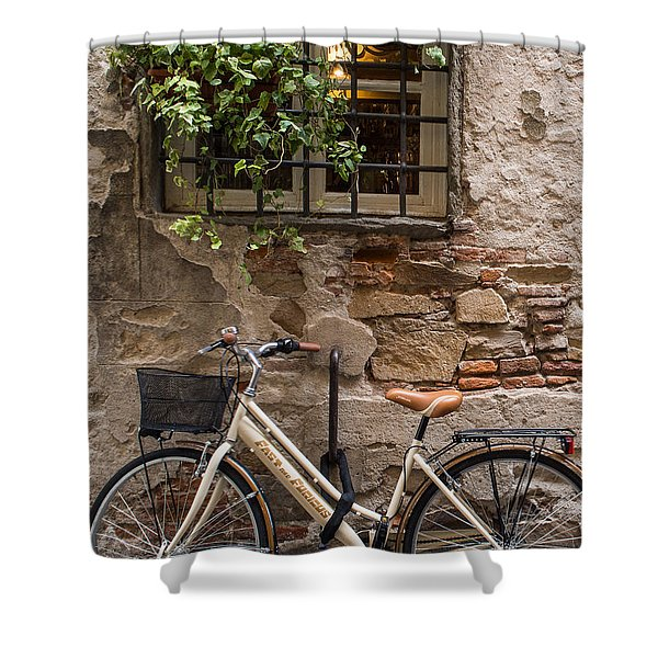 New Bike In Old Lucca Shower Curtain