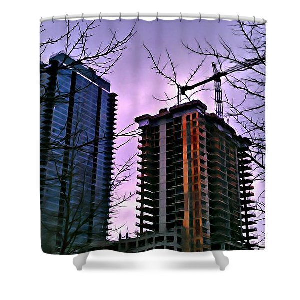 New Construction, Two Towers Shower Curtain