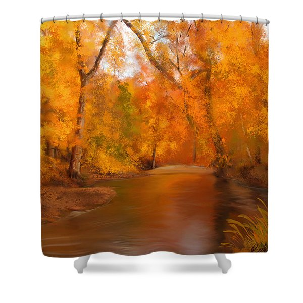 New England Autumn In The Woods Shower Curtain