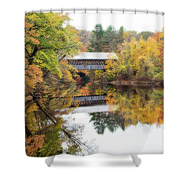 New England Covered Bridge No.63 Shower Curtain