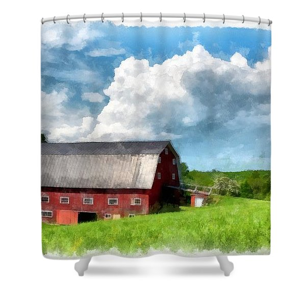 New England Farm Landscape Watercolor Shower Curtain
