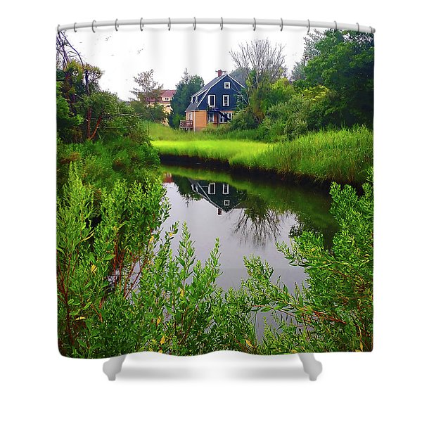 New England House And Stream Shower Curtain