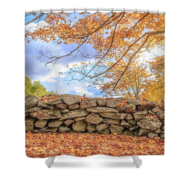 New England Stone Wall With Fall Foliage Shower Curtain