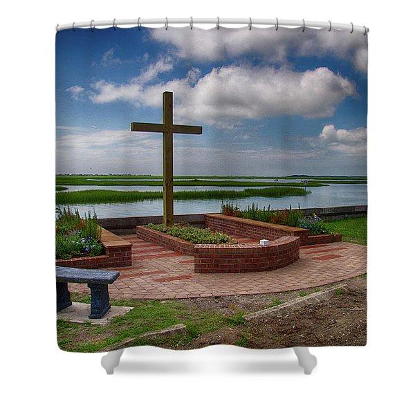 New Garden Cross At Belin Umc Shower Curtain