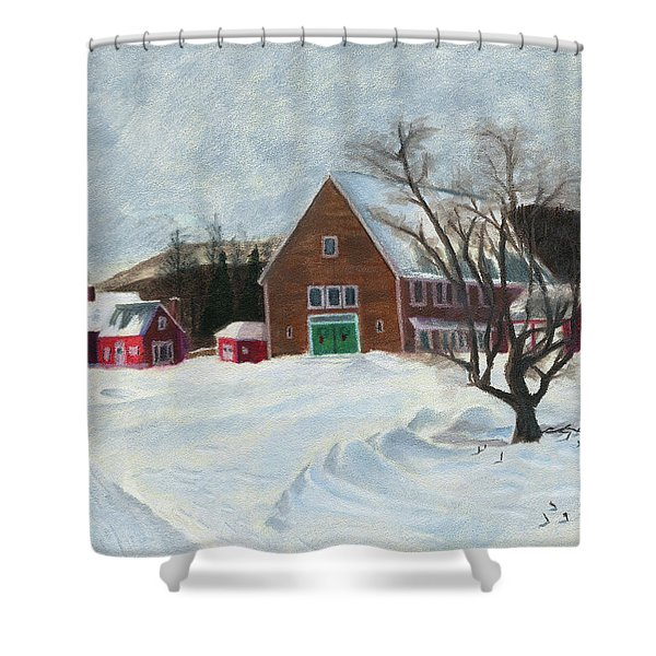 New Hampshire Farm In Winter Shower Curtain