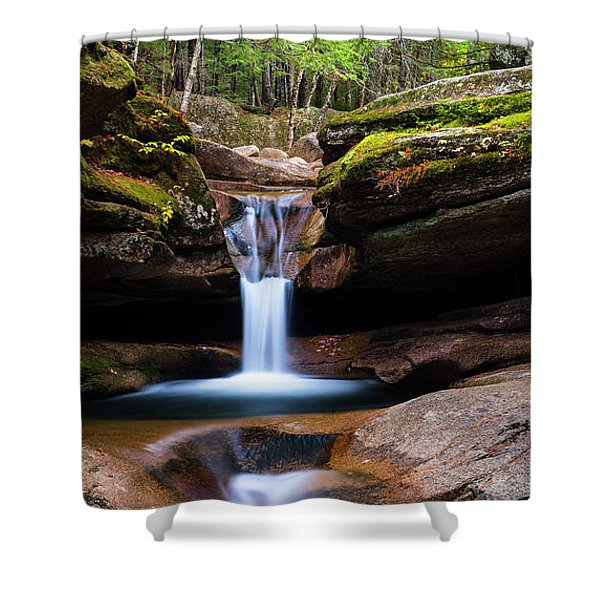 Shower Curtain featuring the photograph New Hampshire Sabbaday Falls And Fall Foliage Panorama by Ranjay Mitra