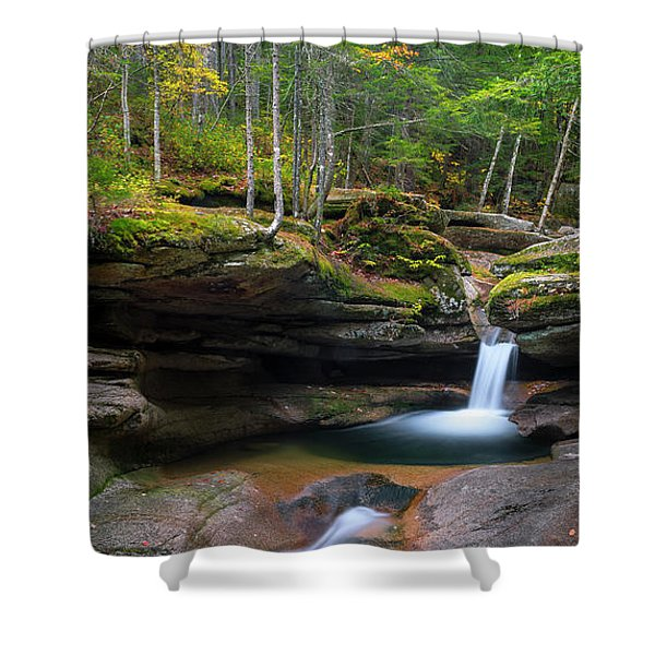 Shower Curtain featuring the photograph New Hampshire Sabbaday Falls Panorama by Ranjay Mitra