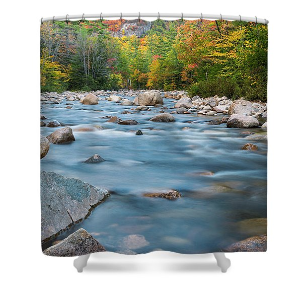 New Hampshire Swift River And Fall Foliage In Autumn Shower Curtain