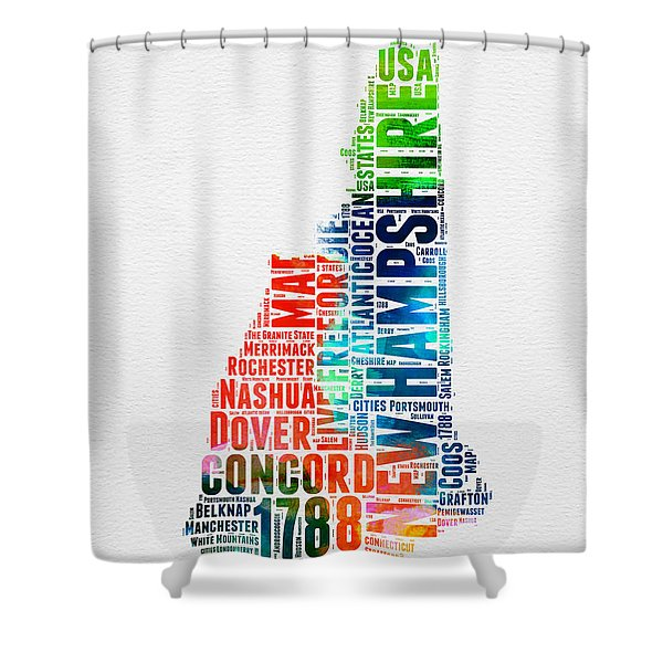 New Hampshire Watercolor Word Map Shower Curtain