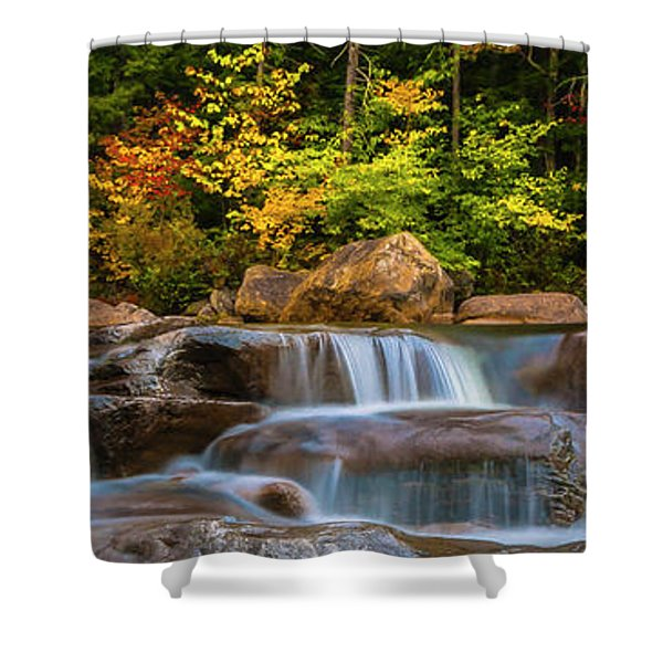 New Hampshire White Mountains Swift River Waterfall In Autumn With Fall Foliage Shower Curtain