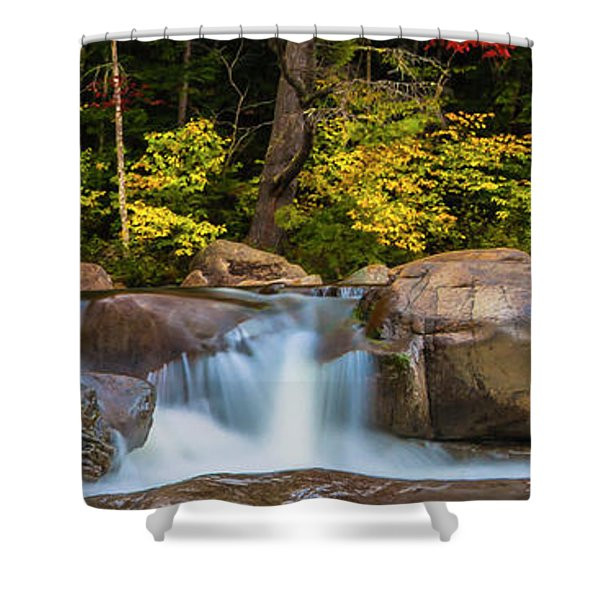 Shower Curtain featuring the photograph New Hampshire White Mountains Swift River Waterfall In Autumn With Fall Foliage by Ranjay Mitra