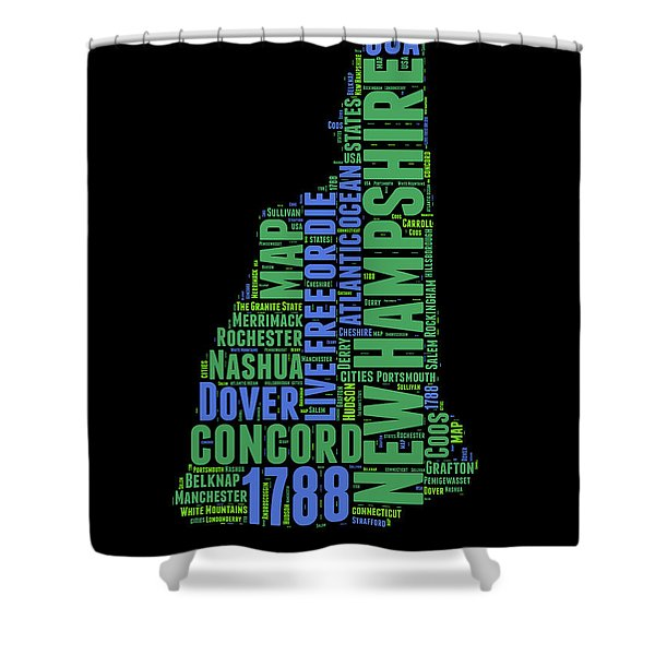 New Hampshire Word Cloud Map 1 Shower Curtain