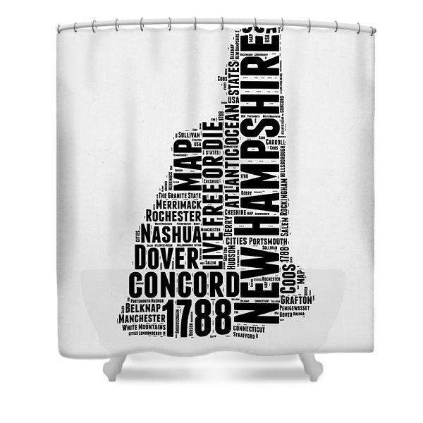 New Hampshire Word Cloud Map 2 Shower Curtain