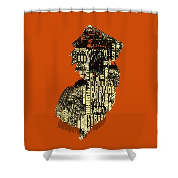 New Jersey Typographic Map 4e Shower Curtain