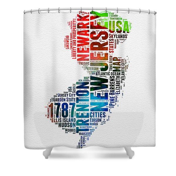 New Jersey Watercolor Word Cloud  Shower Curtain