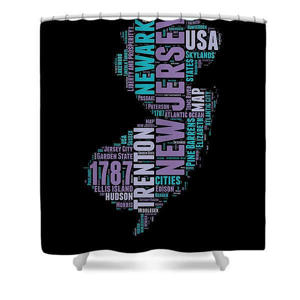 New Jersey Word Cloud 1 Shower Curtain