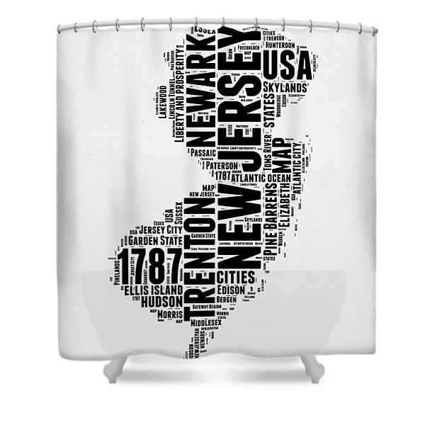 New Jersey Word Cloud 2 Shower Curtain