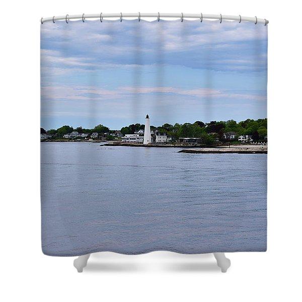 New London Harbor Lighthouse Shower Curtain