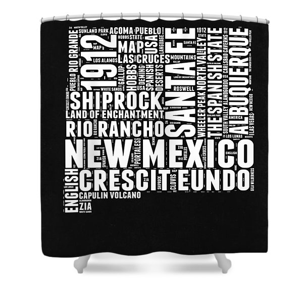 New Mexico Black And White Word Cloud Map Shower Curtain