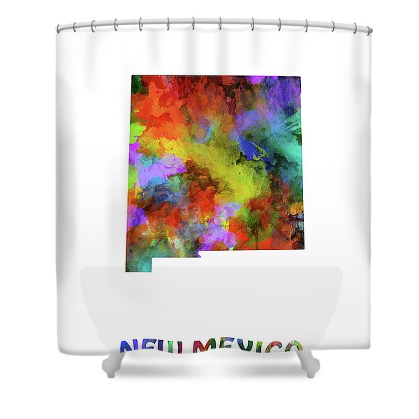 New Mexico Map Watercolor Shower Curtain