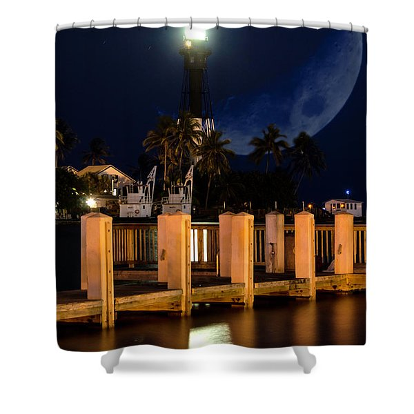 New Moon At Hillsboro Inlet Lighthouse Shower Curtain