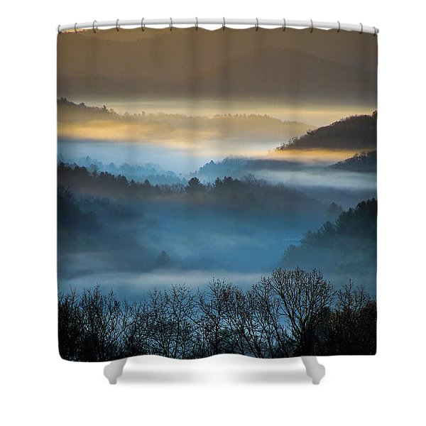 New River Fog Shower Curtain