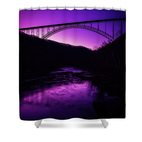 New River Gorge Bridge Afterglow Shower Curtain