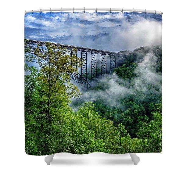 New River Gorge Bridge Morning  Shower Curtain