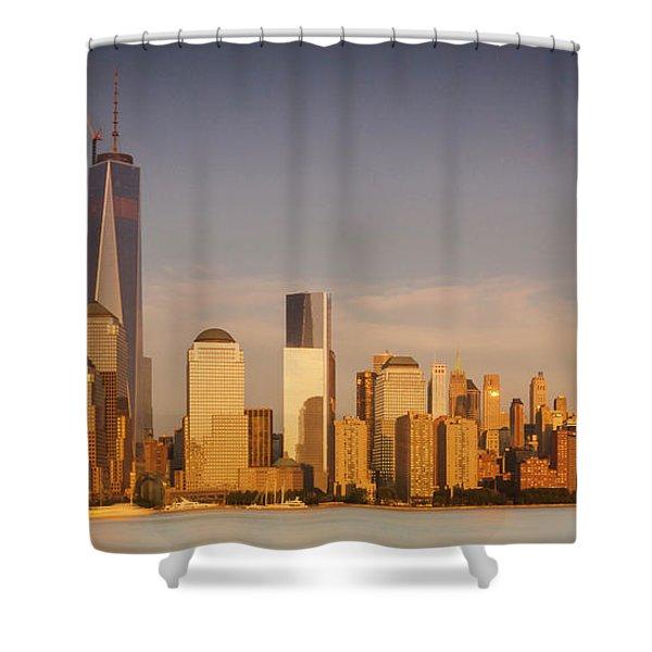 New World Trade Memorial Center And New York City Skyline Panorama Shower Curtain